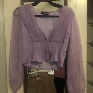 Romantic bell sleeve lavender top
